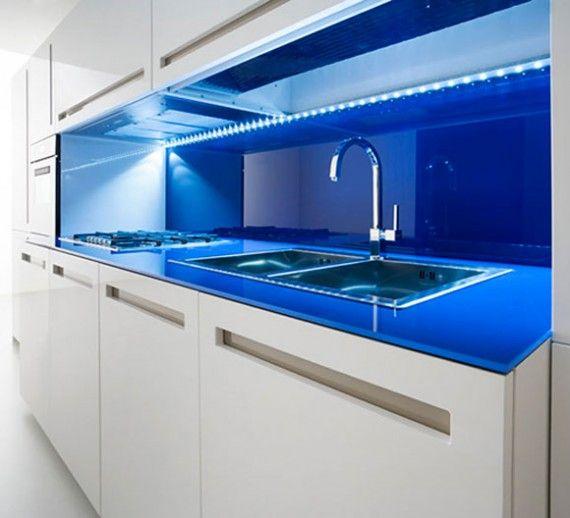 Lumilum Blue Led Strip Lighting Under The Cabinets Kitchen