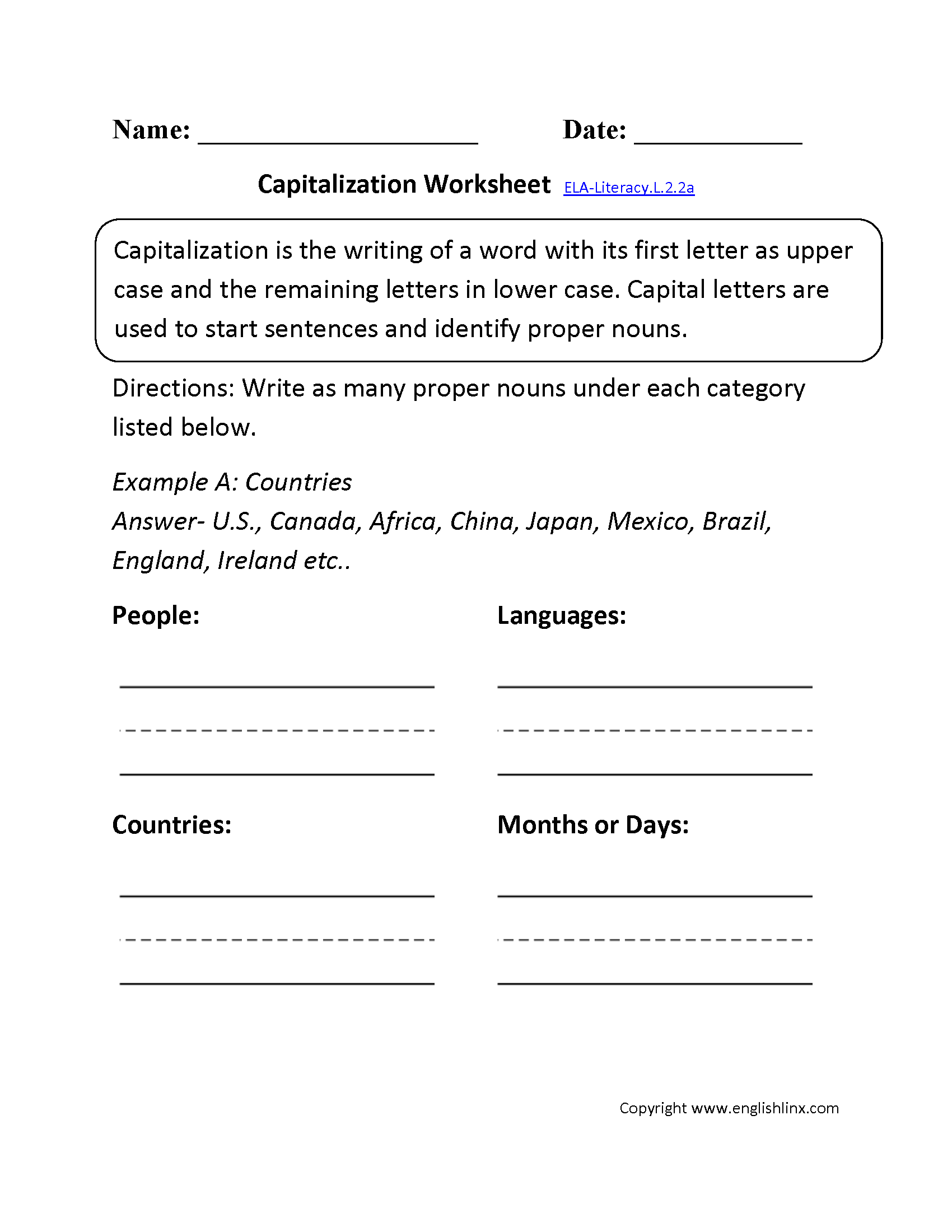 Capitalization Worksheet 1 Ela Literacy L 2 2a Language