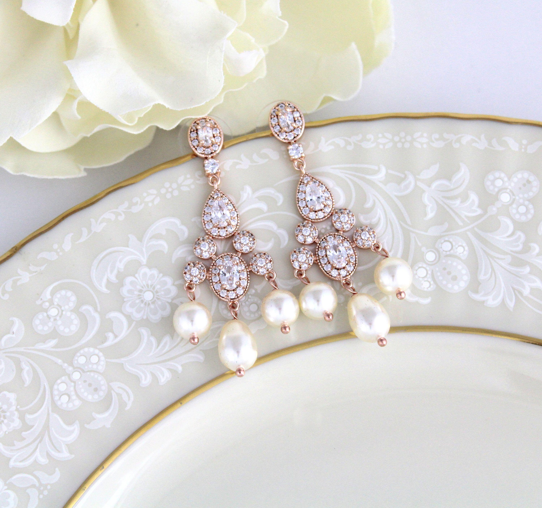 Rose gold Earrings Bridal earrings Bridal jewelry Pearl