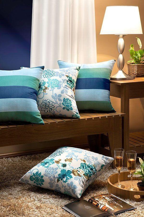 b671c5732 Este belíssimo Kit Almofadas Decorativas Essencialle Azul Turquesa - 04  Peças 100% Algodão valorizará a decoração da sua casa
