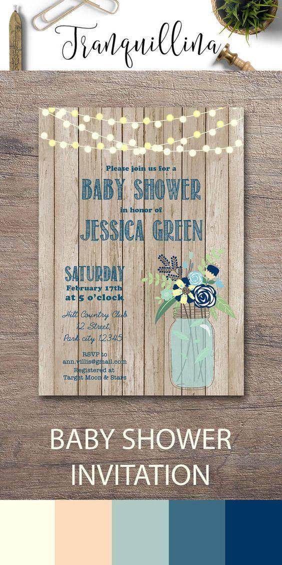 Boy baby shower invitation, Mason Jar rustic baby shower invitations ...