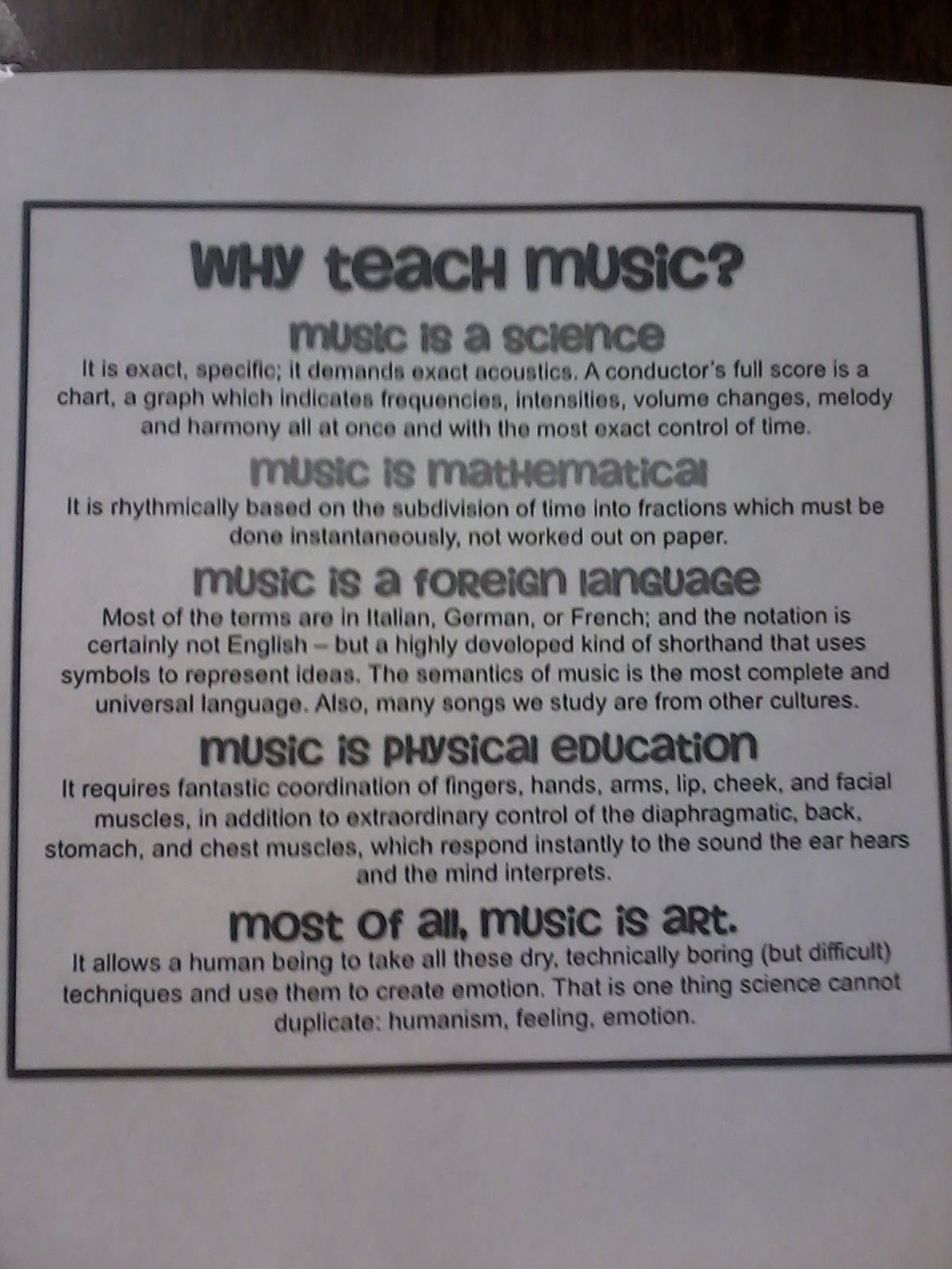 why teach music Teaching music through composition: a curriculum using technology [barbara freedman] on amazoncom free shipping on qualifying offers teaching music through composition offers a practical, fully multimedia curriculum designed to teach basic musical concepts through the creative process of music composition.