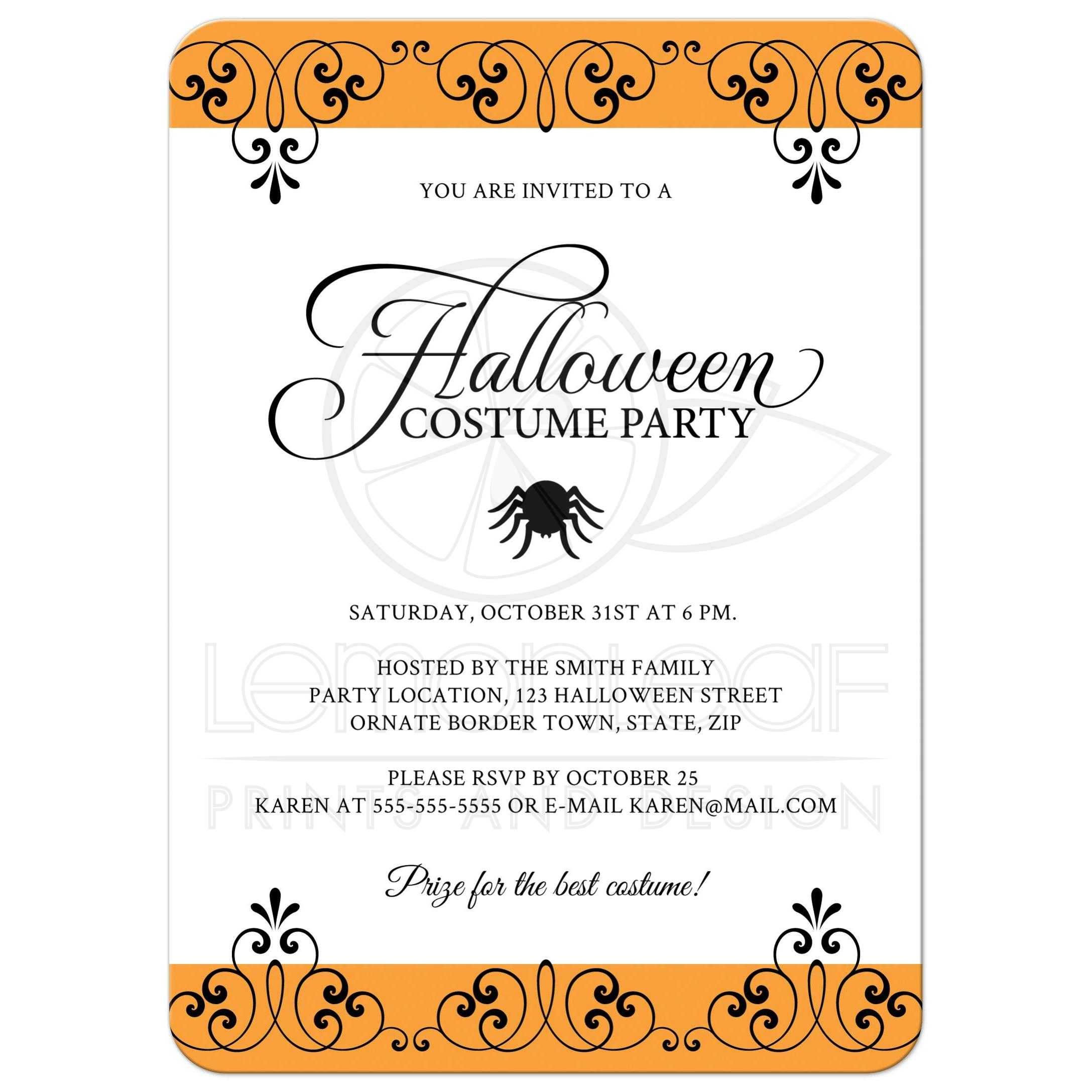 Halloween costume party invitation with ornate, black and