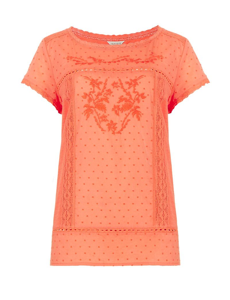 Pure Cotton Embroidered T-Shirt | M&S/£29.50