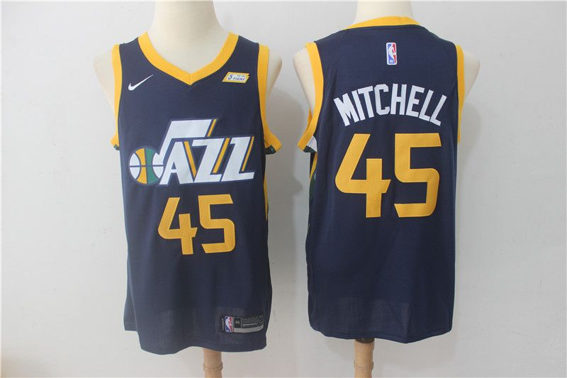 Nike NBA Utah Jazz  45 Donovan Mitchell Jersey 2017 18 New Season Blue  Jersey afb61c39b