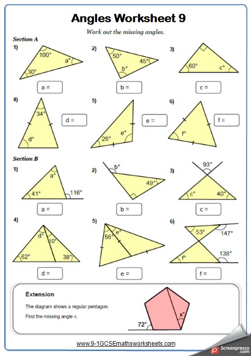 Angles in triangles worksheet Angles worksheet, Math