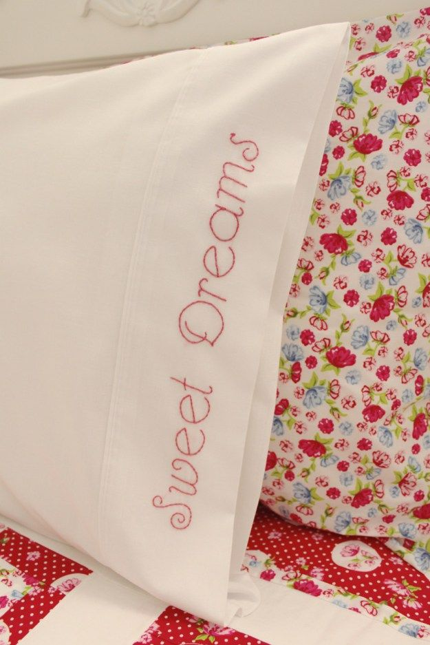 Great post showing how to embellish a pillowcase with embroidered lettering - using an iron-on transfer pen to transfer the pattern, and backstitch for the lettering. From: Embroider a Pillowcase with Molly and Mama16
