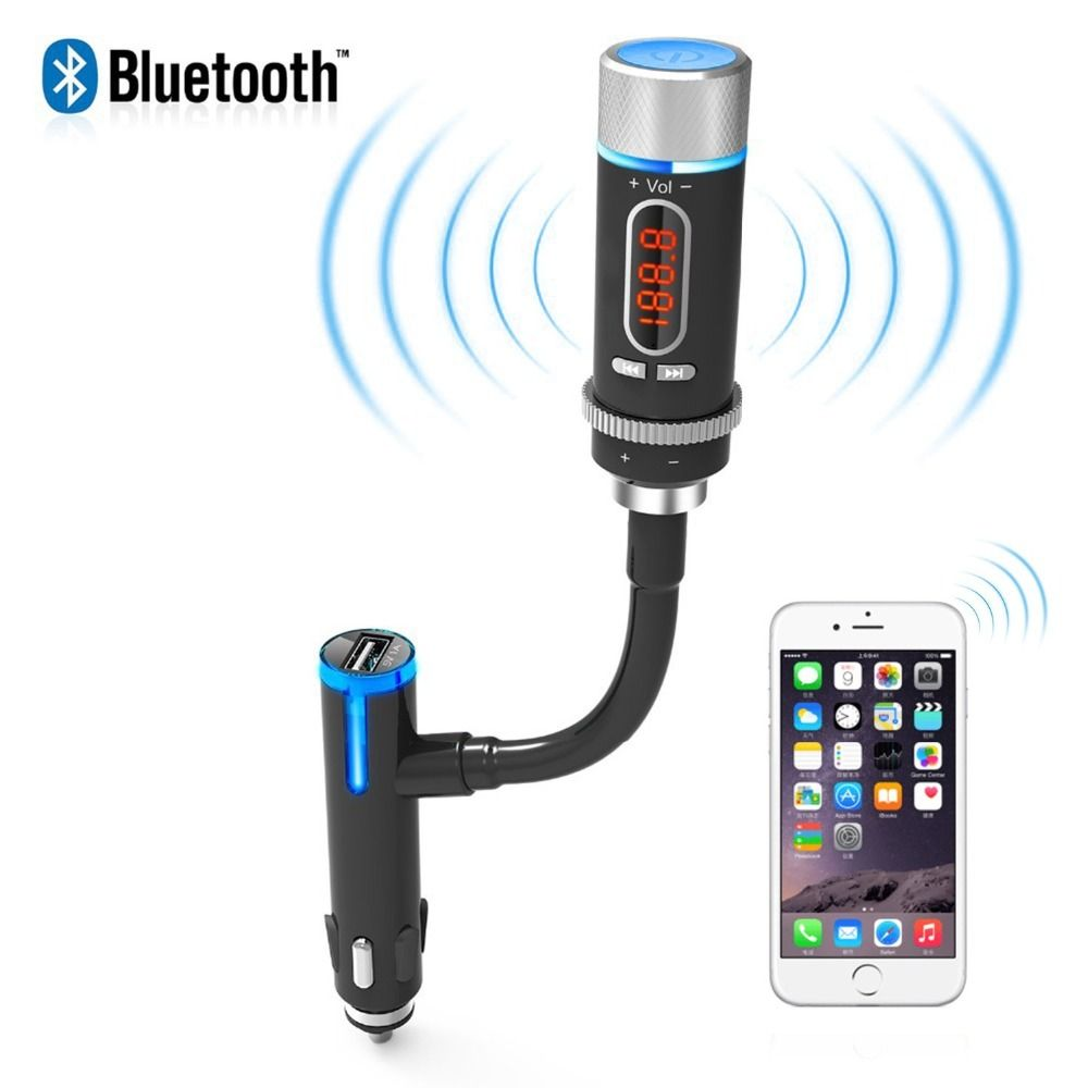 2017 wireless bluetooth fm transmitter radio adapter handsfree car kit with usb charging music control