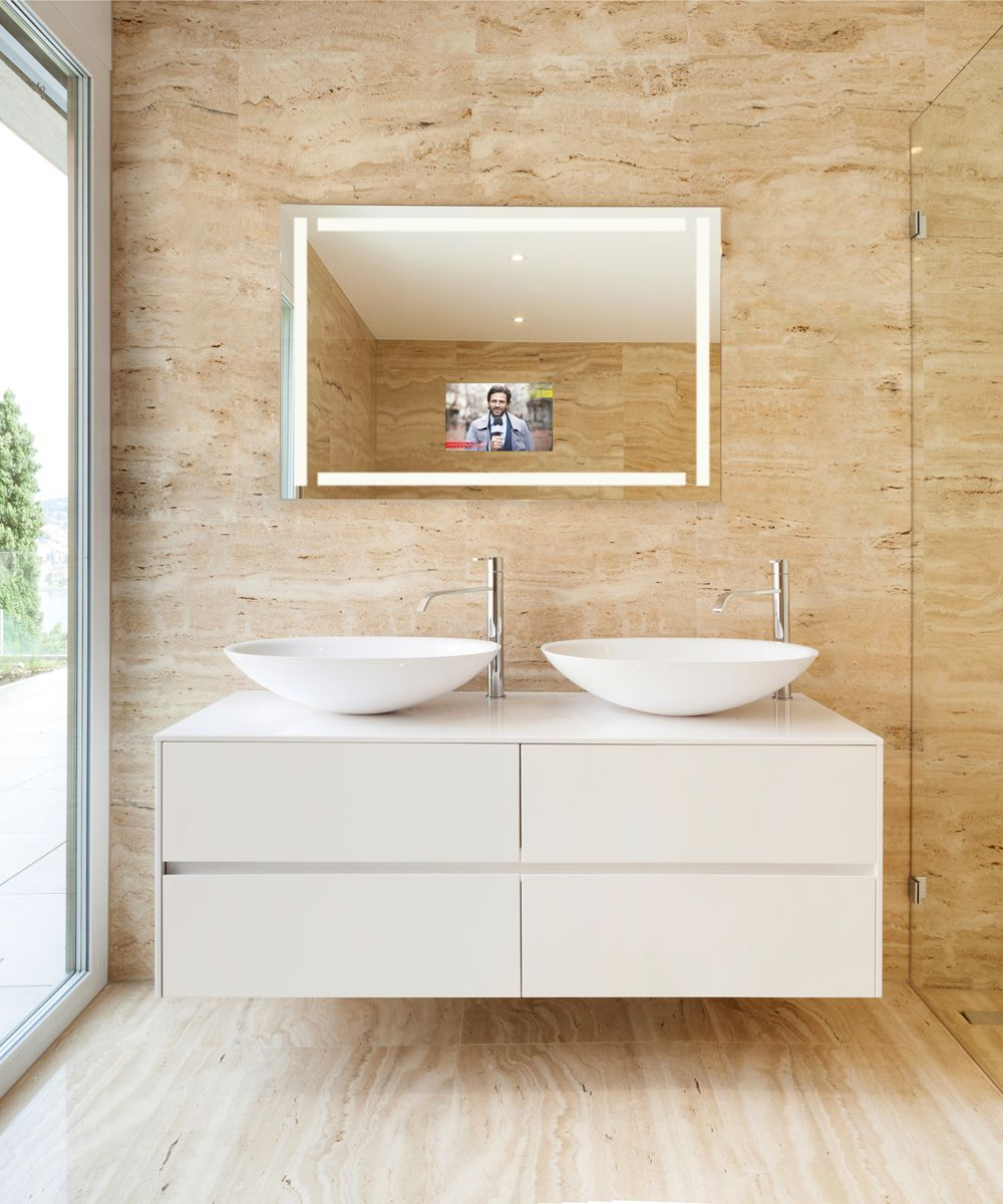 Efinity Is A Lighted Mirror With A Hidden Led Hdtv Has Four Bands Of Frosted Light Around The Border Comes In Five Standard Sizes A Jpclubhouse Bathr [ 1200 x 1000 Pixel ]