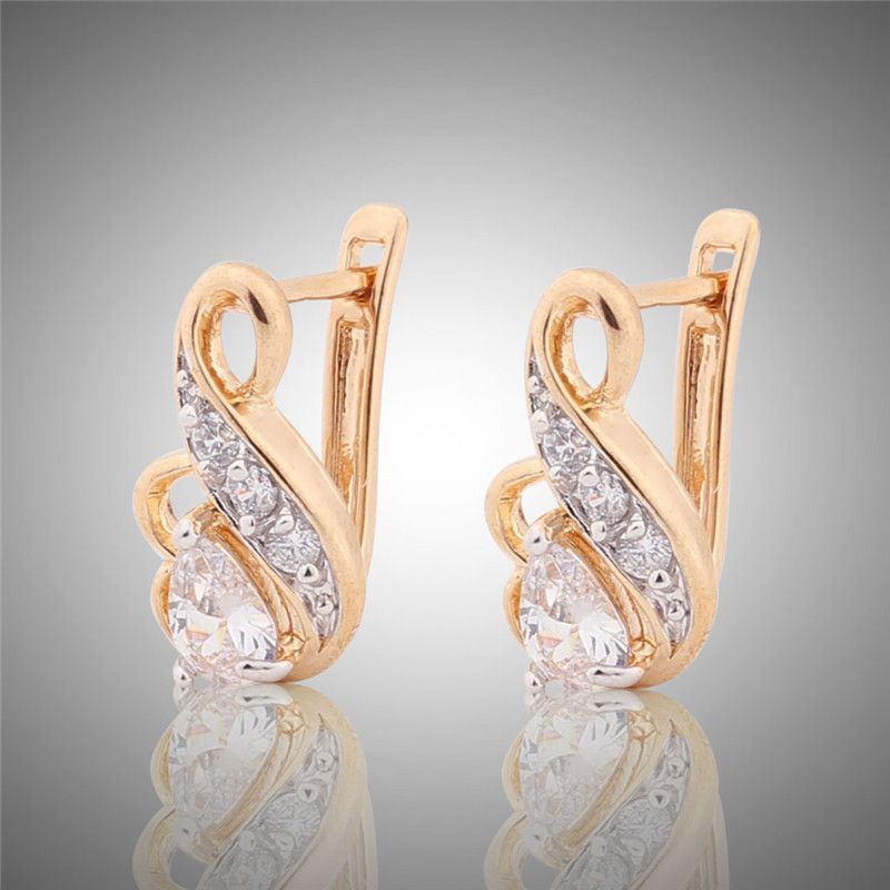 New Small Hoop Earrings for Women 18K Gold Platinum Plated Hoop Earrings Big White Crystal CZ Earing Fashion Snake Jewelry E194