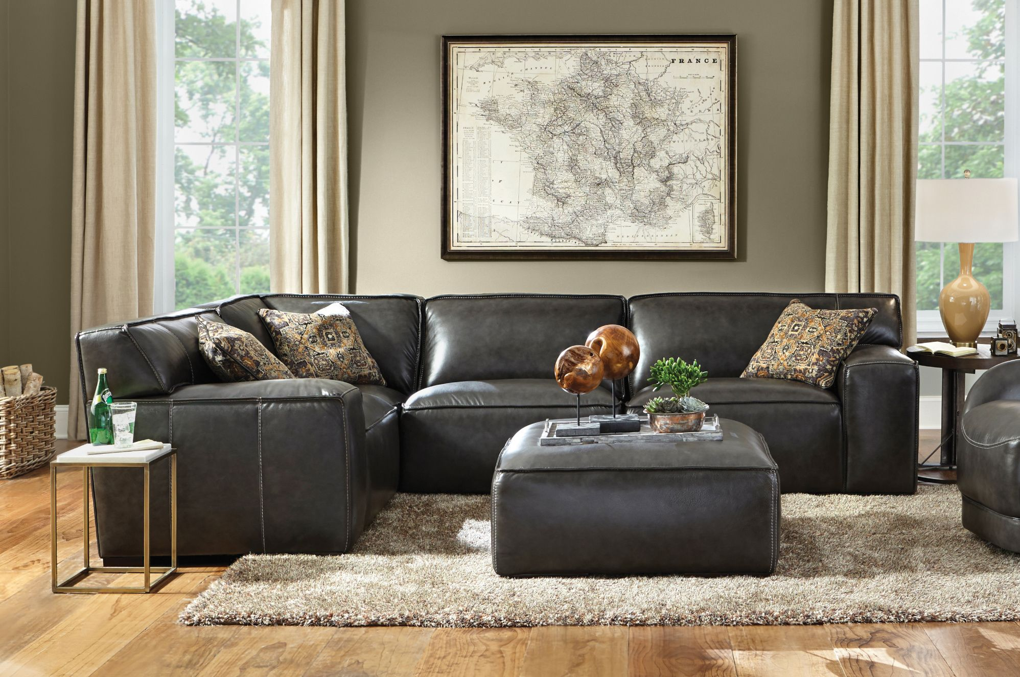 Time For A New Leather Sectional Cozy Living Room Design