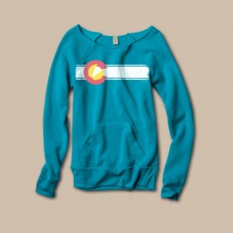 Teal Colorado flag sweatshirt from Akinz in Old Town Fort Collins