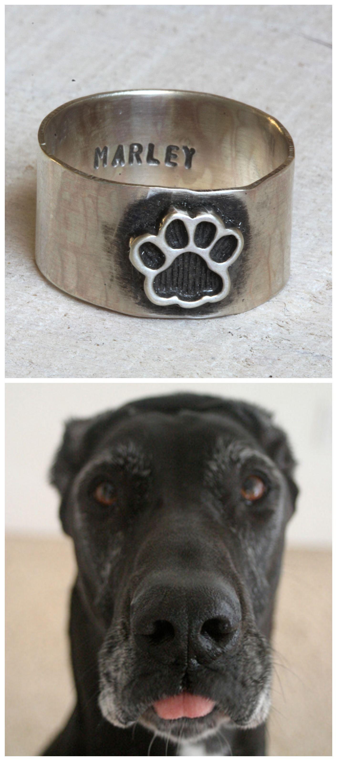Pet paw ring dog or cat ring pet memorial ring | Gift ...
