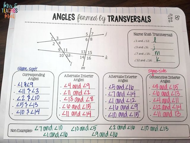 Angles formed by Lines and Transversals graphic organizer