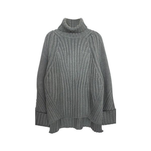 Gray High Low Oversized Turtleneck Sweater (€87) ❤ liked on Polyvore featuring tops, sweaters, grey, oversized sweaters, oversized turtleneck sweater, grey turtleneck sweater, gray top and gray oversized sweater