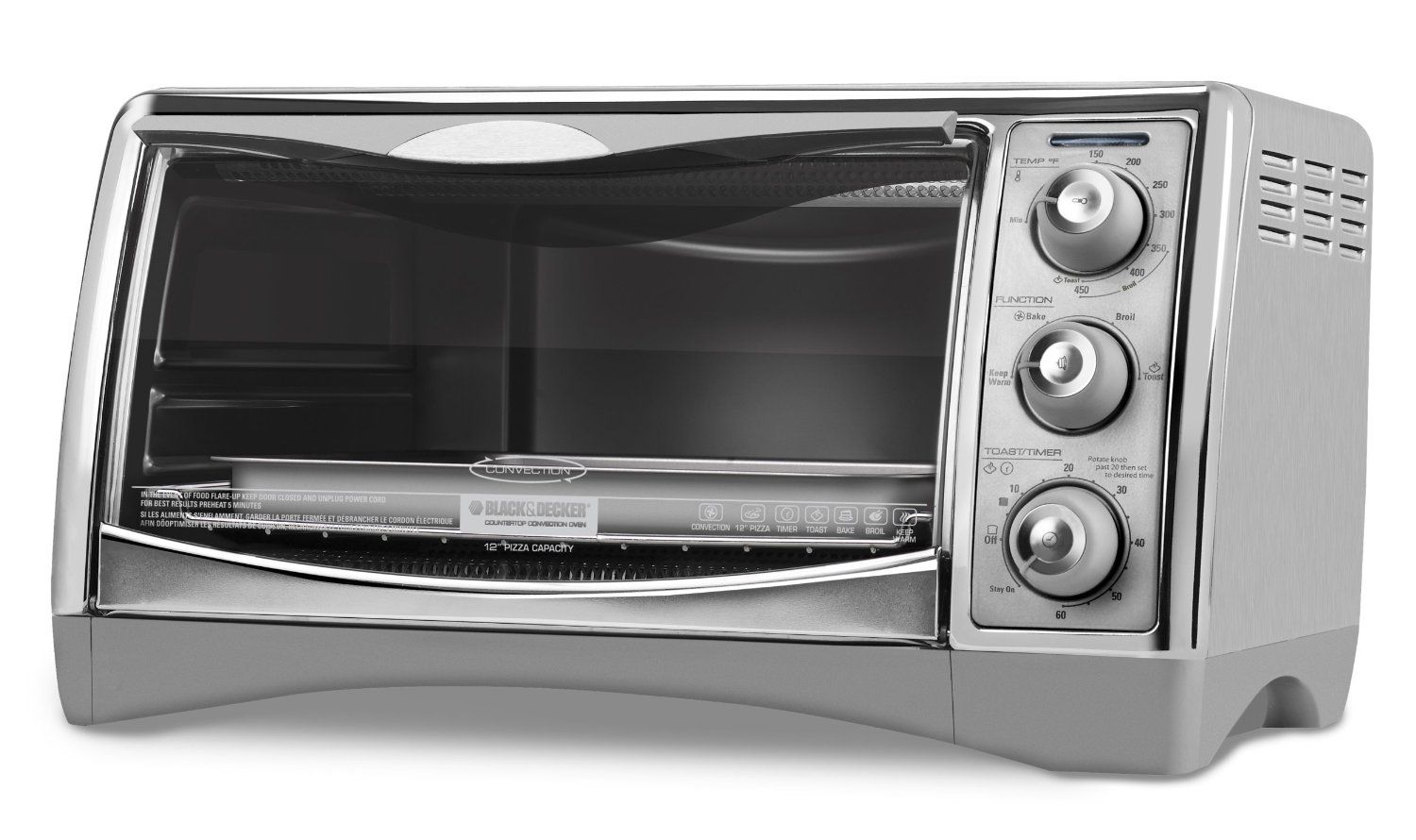 Black Decker Cto4500s 6 Slice Countertop Convection Oven With Pizza Bump Stainless St Convection Toaster Oven Toaster Oven Reviews Countertop Convection Oven