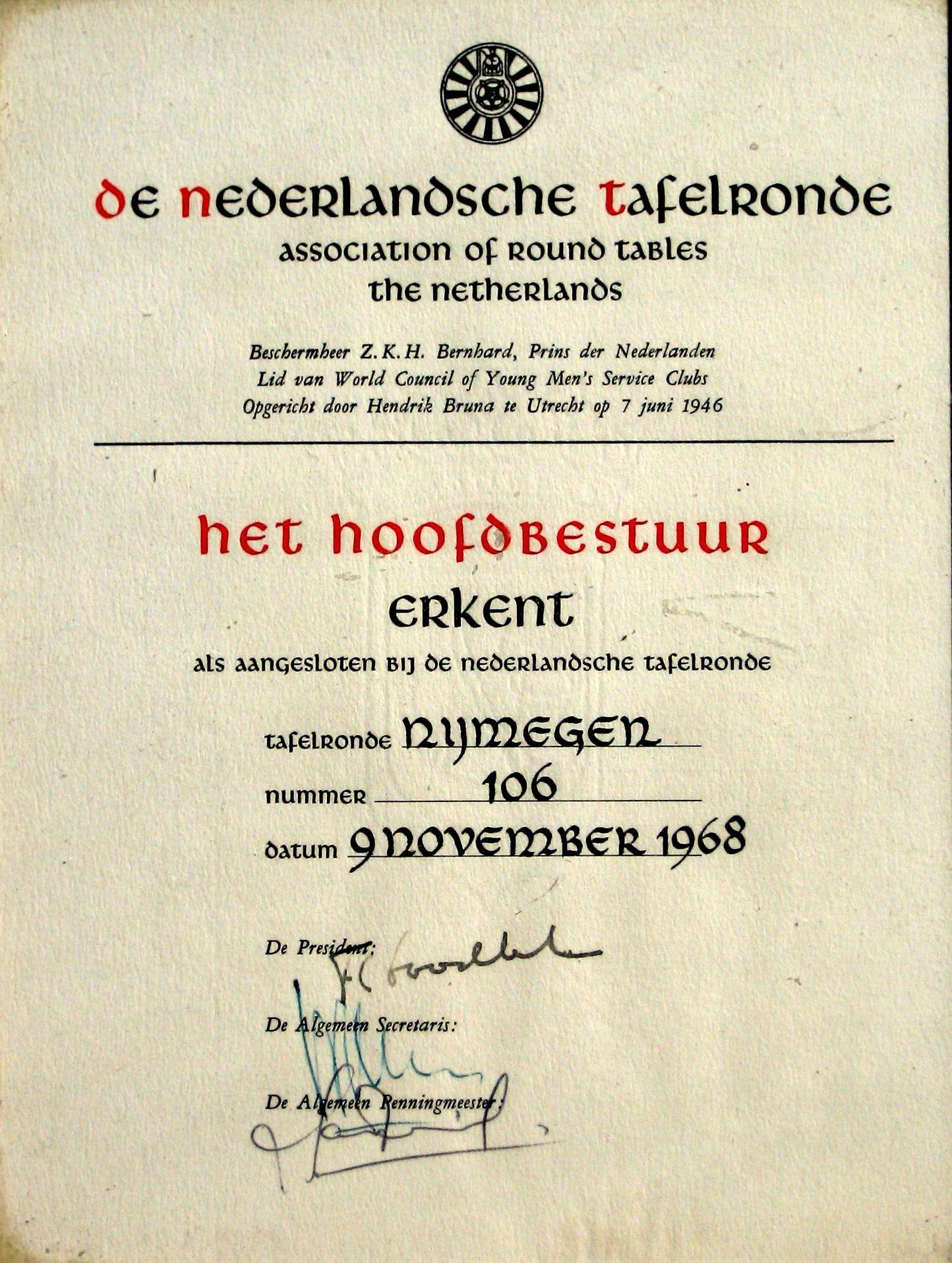 Ronde Tafel Nijmegen.Ronde Tafel 106 Nijmegen Oprichtingsakte Door Beschermheer