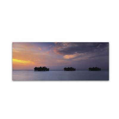 "Trademark Art ""Sunset Solitude-Maldives"" by David Evans Photographic Print on Wrapped Canvas Size: 6"" H x 19"" W x 2"" D"