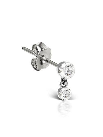 Maria Tash Invisible Set Diamond Dangle Stud Earring White Gold