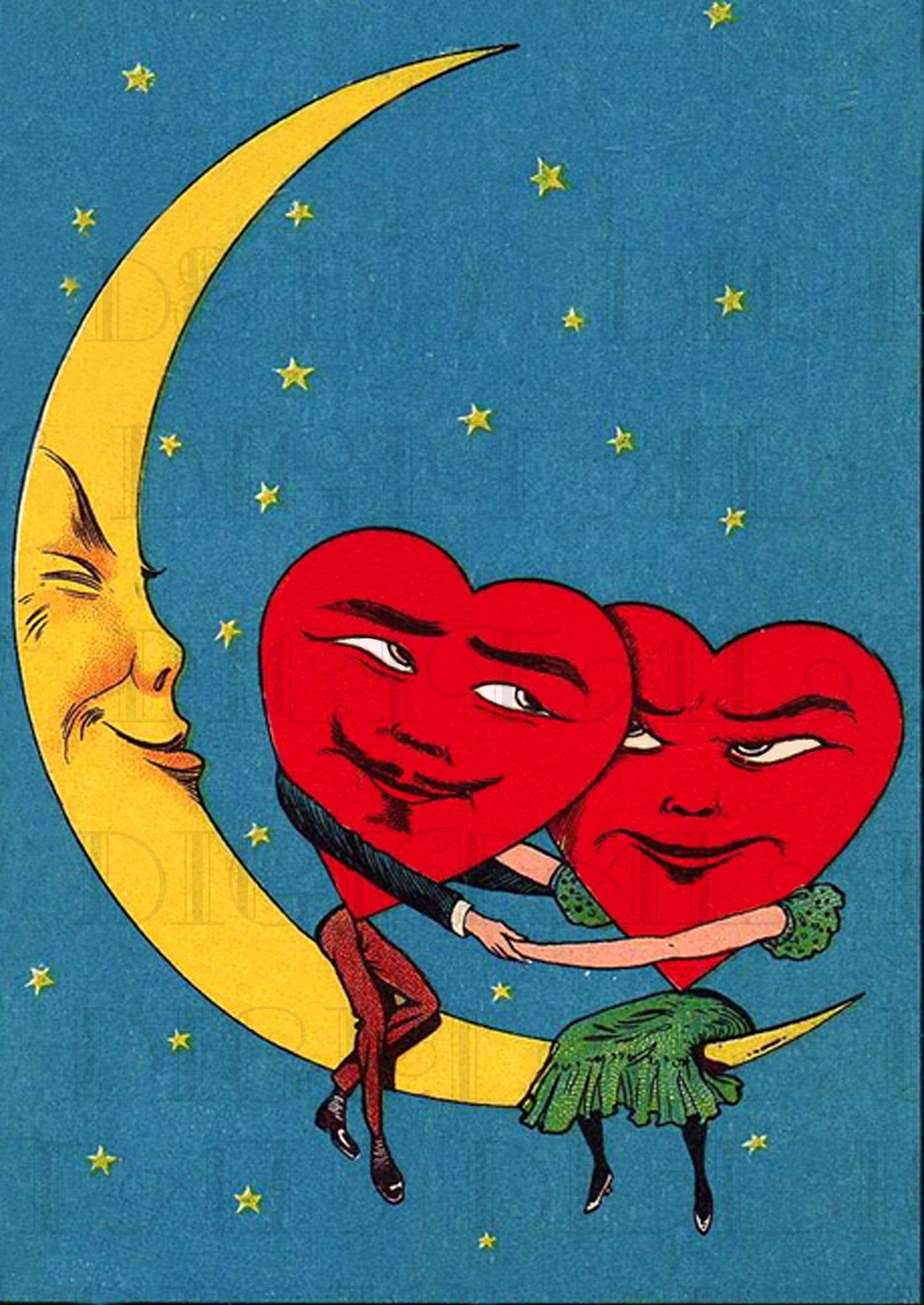 Spooning On The Moon! VALENTINE Card! Vintage Illustration. Valentine DIGITAL Download