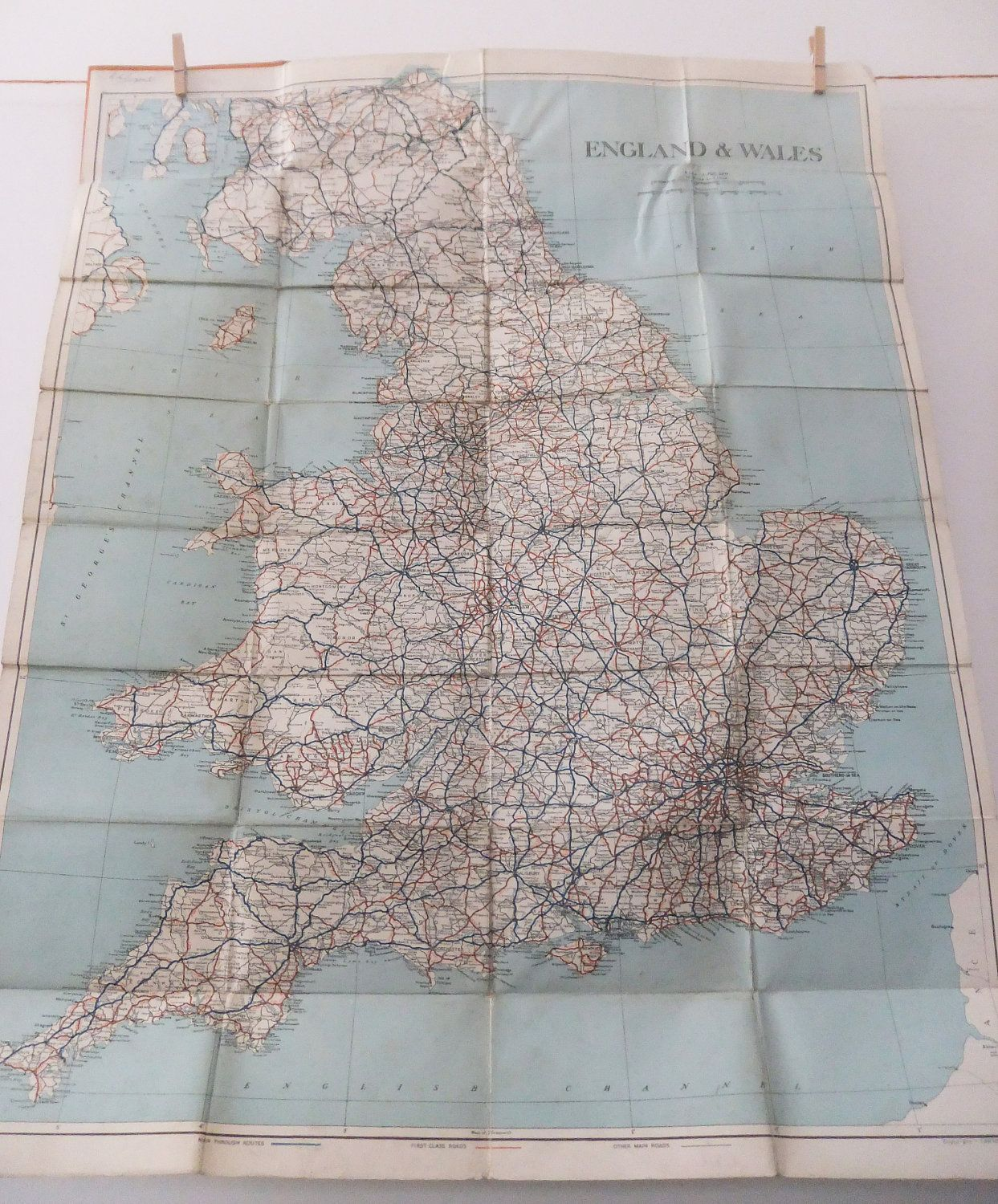 Vintage Road Map England Wales Southern Scotland Old Map Very - Antique road maps