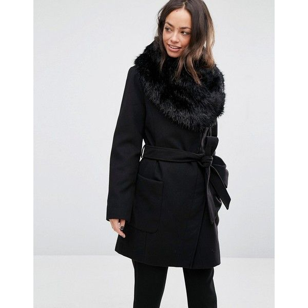 Oasis Faux Fur Trim Belted Coat (2,800 MXN) ❤ liked on Polyvore featuring  outerwear