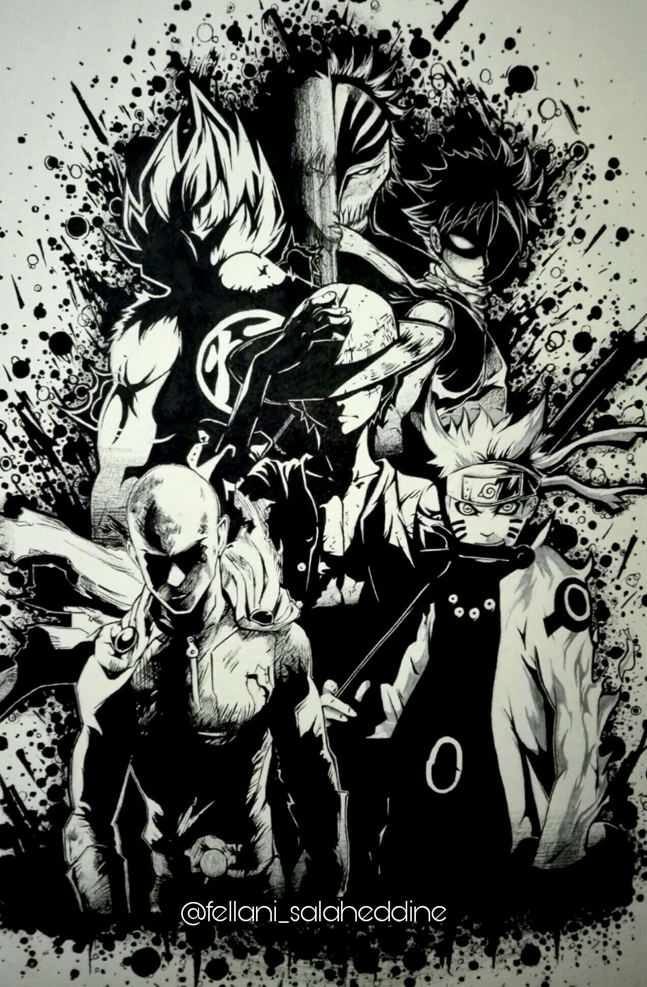 Legendary Anime Heroes Goku Ichigo Natsu Luffy Saitama And Naruto Drawing Tatuagens De Anime Anime Tatoo Desenhos De Anime