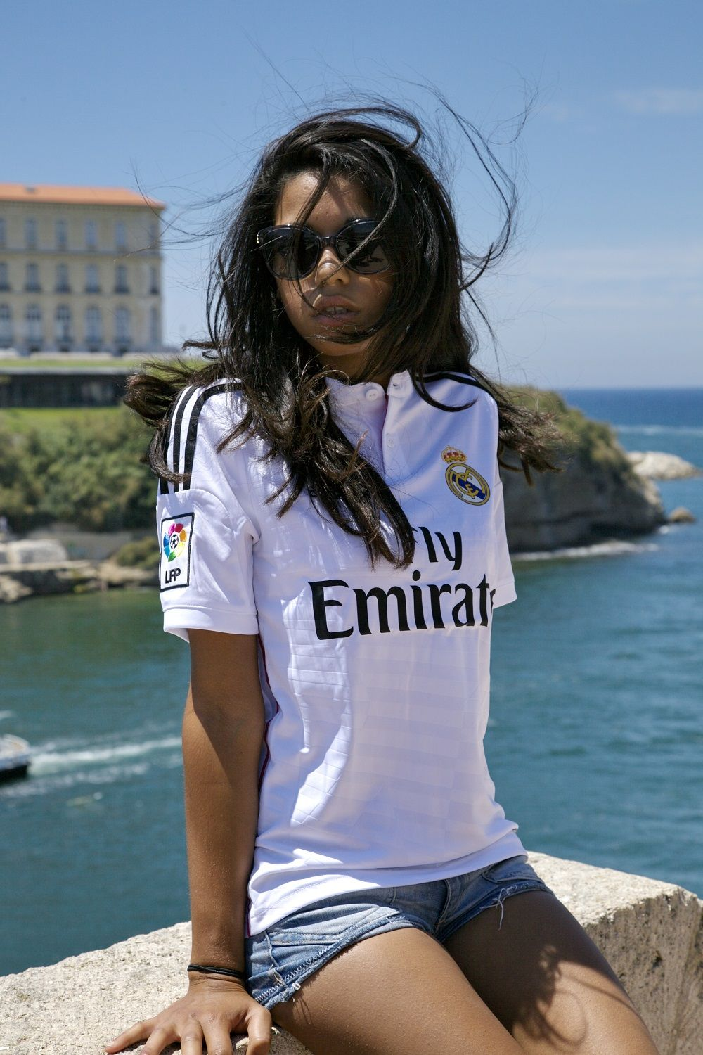 save off 0f910 fb031 Real Madrid girl enjoying the sunshine. Southern sun. White ...