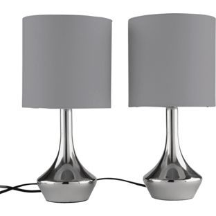 Buy ColourMatch Pair of Touch Table Lamps - Smoke Grey at Argos.co ...