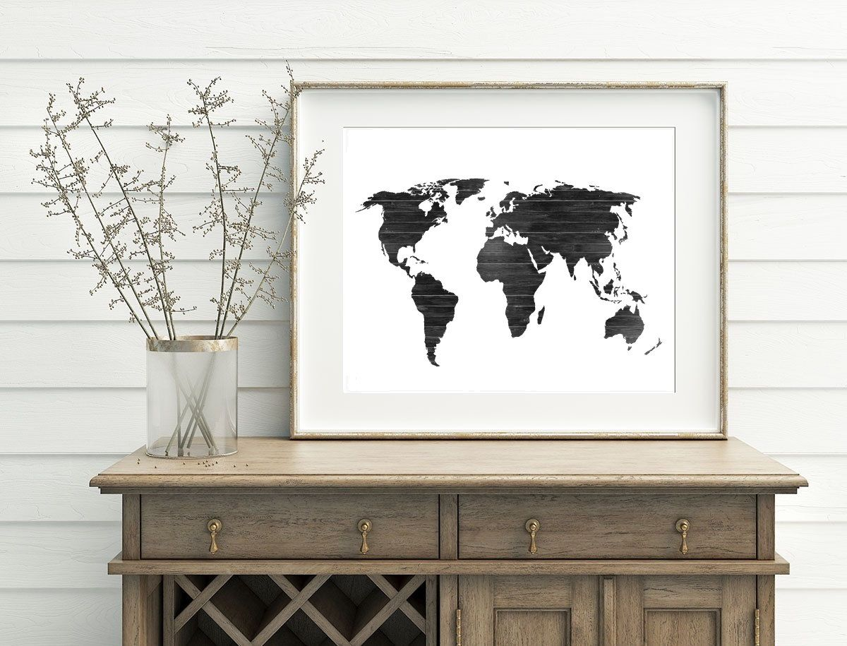 Black and white map wood world map printable 10x8 7x5 home decor black and white map wood world map printable 10x8 7x5 home decor map decor painting gumiabroncs Image collections