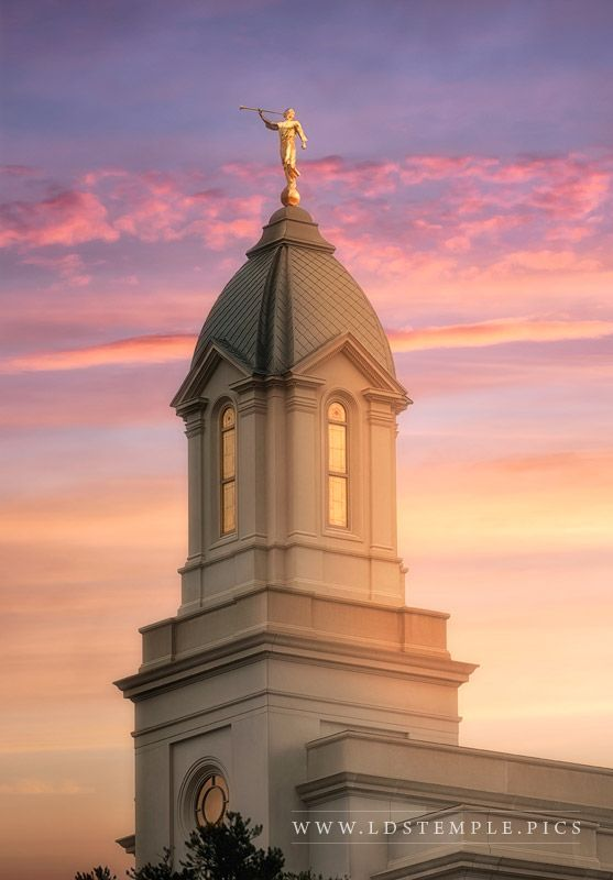 Cedar City Temple Beacon Of Light - A stunning sunset behind the spire of the new Cedar City Utah Temple, scheduled to be dedicated December 10, 2017. The open house starts in October! Photo by Alan Fullmer at www.ldstemple.pics