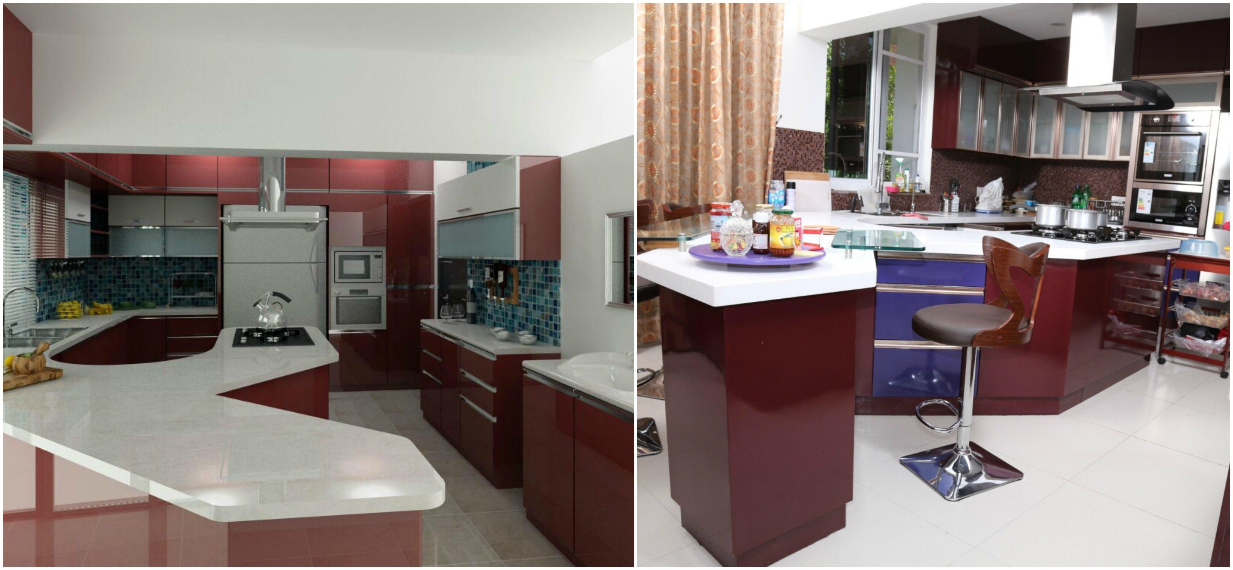 Kitcheninteriordesign elevation and execution pics of kitchen