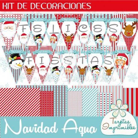 Decoraciones imprimibles navideñas en color rojo y aqua. Banderines ...