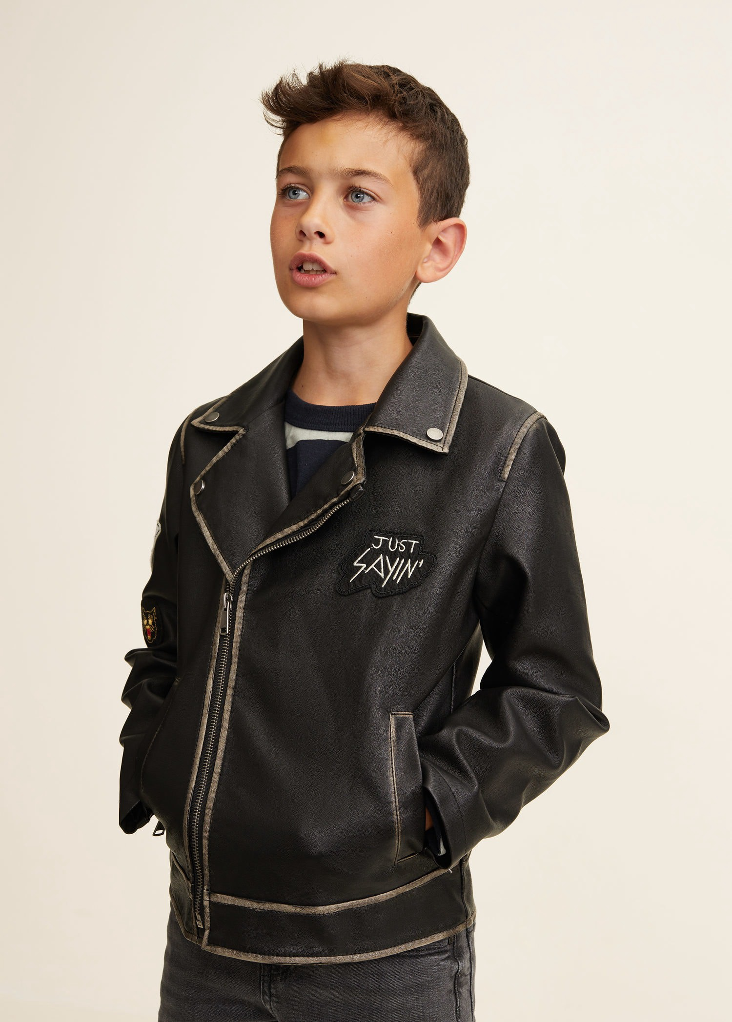 Mango Patched Biker Jacket 11 12 Years 152cm Jackets Leather Outfit Boys Jacket [ 2095 x 1500 Pixel ]