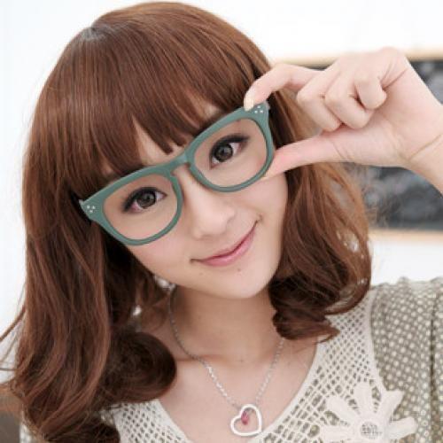 Printed Retro Glasses (Non-Prescription Lens Included) Green and Gray - One Size