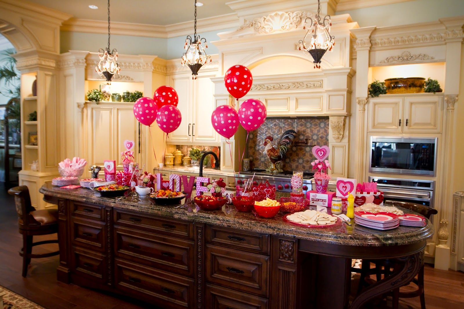 Party Food Display On Kitchen Island With Balloons Party