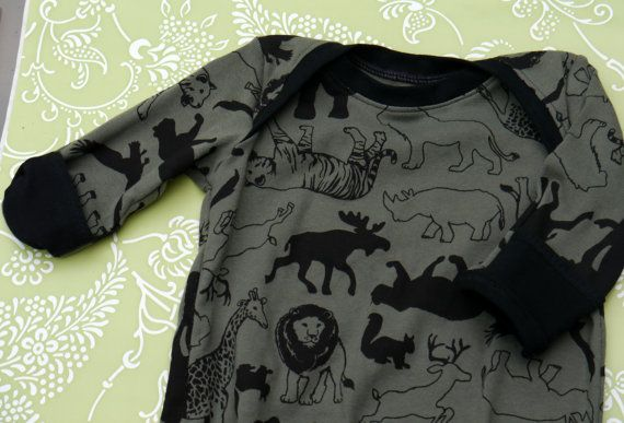 Safari Theme Baby Gown With Hand Covers Size 0 3mo Cotton Rib