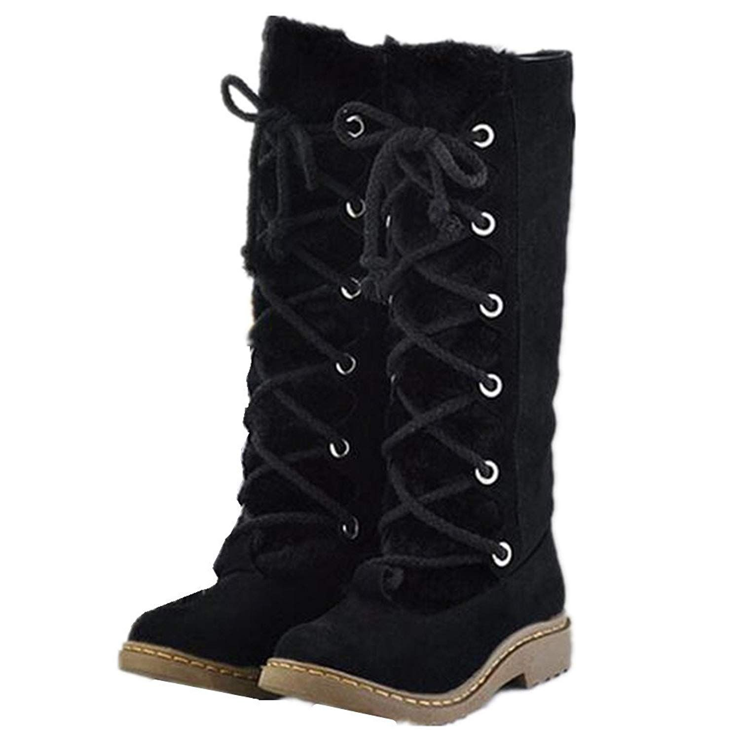 e916a8a5fa5 HAPPYLIVE SHOPPING Womens Winter Warm Quilted Knee High Mid Calf Waterproof  Thick Faux Fur Lined Lace Up Low Heels Winter Rain Snow Boots   For more ...
