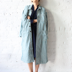 Ichi Blue Stripe Smock Jacket
