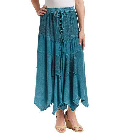 Shabri Fashions Burgundy Lace-Up Tiered Maxi Skirt | zulily