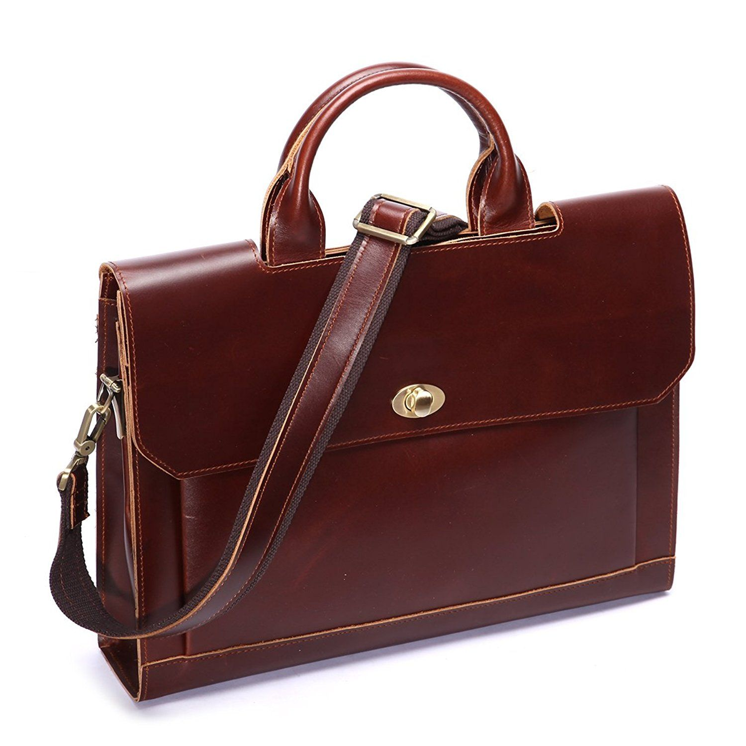 Leathario Mens Genuine Leather Briefcase Laptop Tote Bags Business Office Bag *** Additional details at the pin image, click it  : Christmas Luggage and Travel Gear