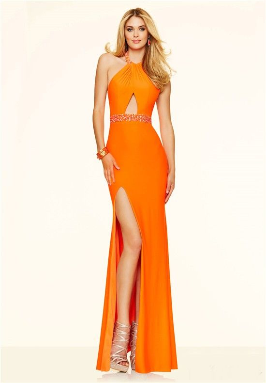 Sexy Halter Backless Cut Out Keyhole Slit Long Orange Jersey Beaded ...