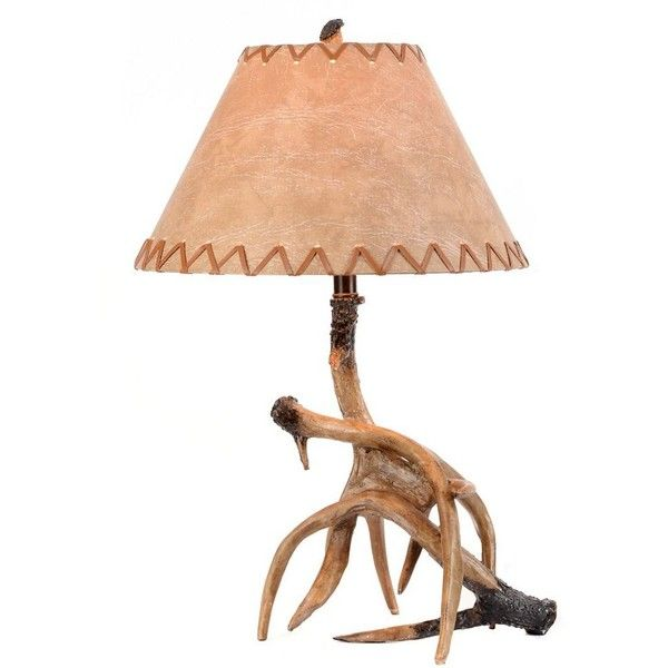 Antler Table Lamp With Faux Leather Shade 92 AUD Liked On Polyvore Featuring