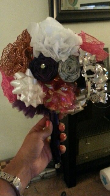 bridal shower ribbon bouquet for rehearsal