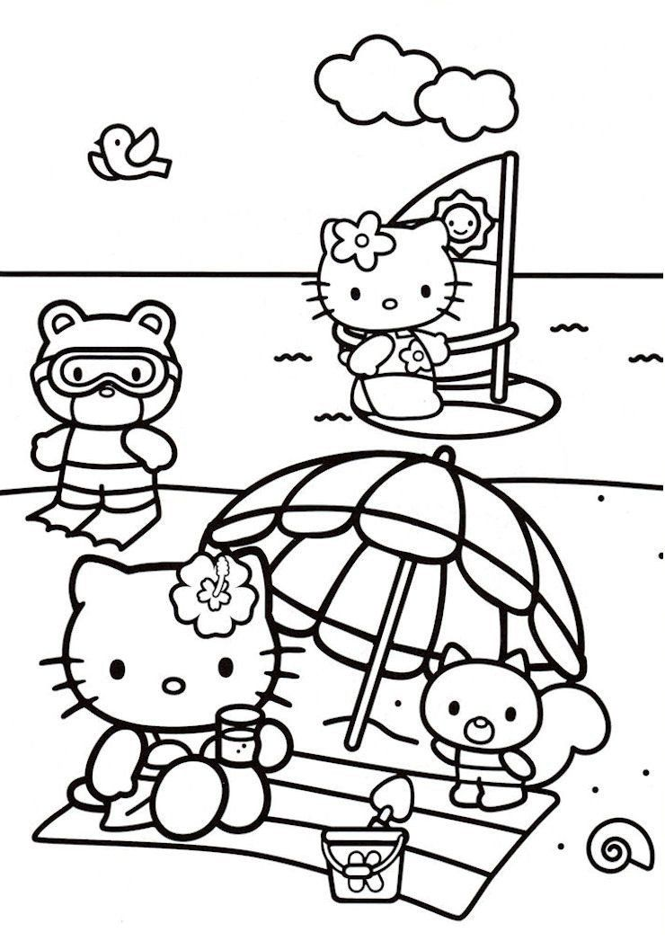 Hello Kitty Coloring Pages Summer Time Sunny Day At Beach Hello Kitty Coloring Pages Hello Kitty Coloring Hello Kitty Drawing Kitty Coloring