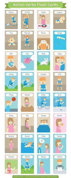 Free printable action verbs flash cards Download them in PDF - action verbs