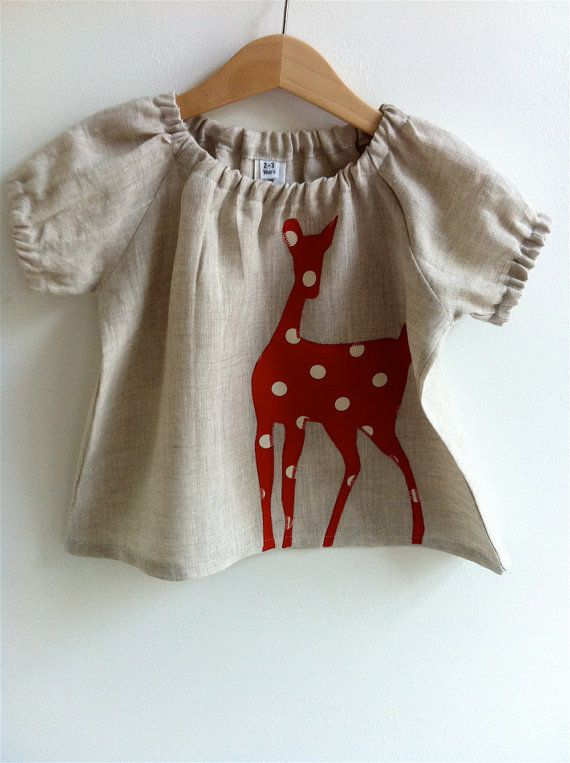 Doe  Baby Blouse Natural/Red -  6-12 mths, 1-2 yrs, 2-3yrs, 3-4yrs, 4-5yrs