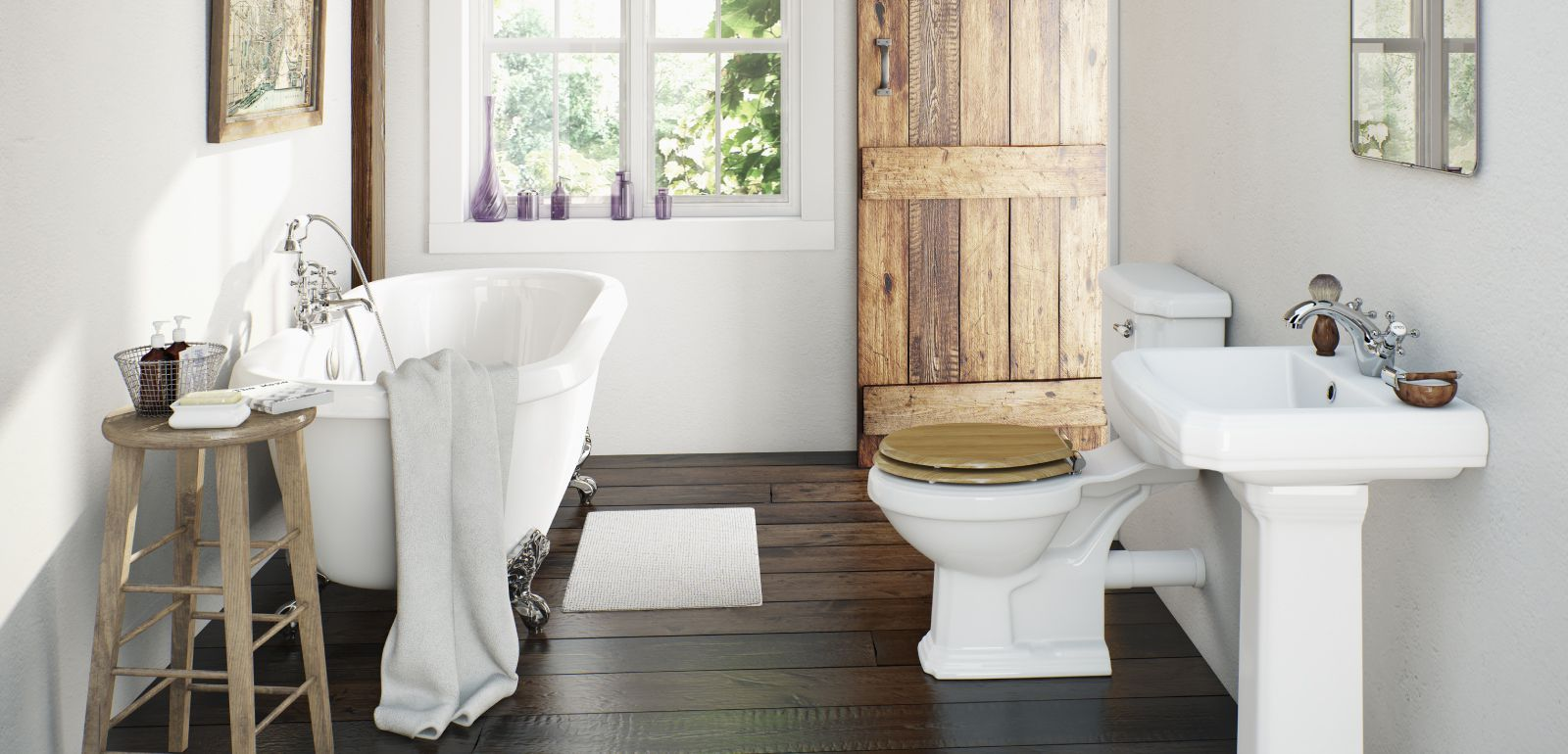 Simple White Small Bathroom Country Style With Bathtub and Sink ...