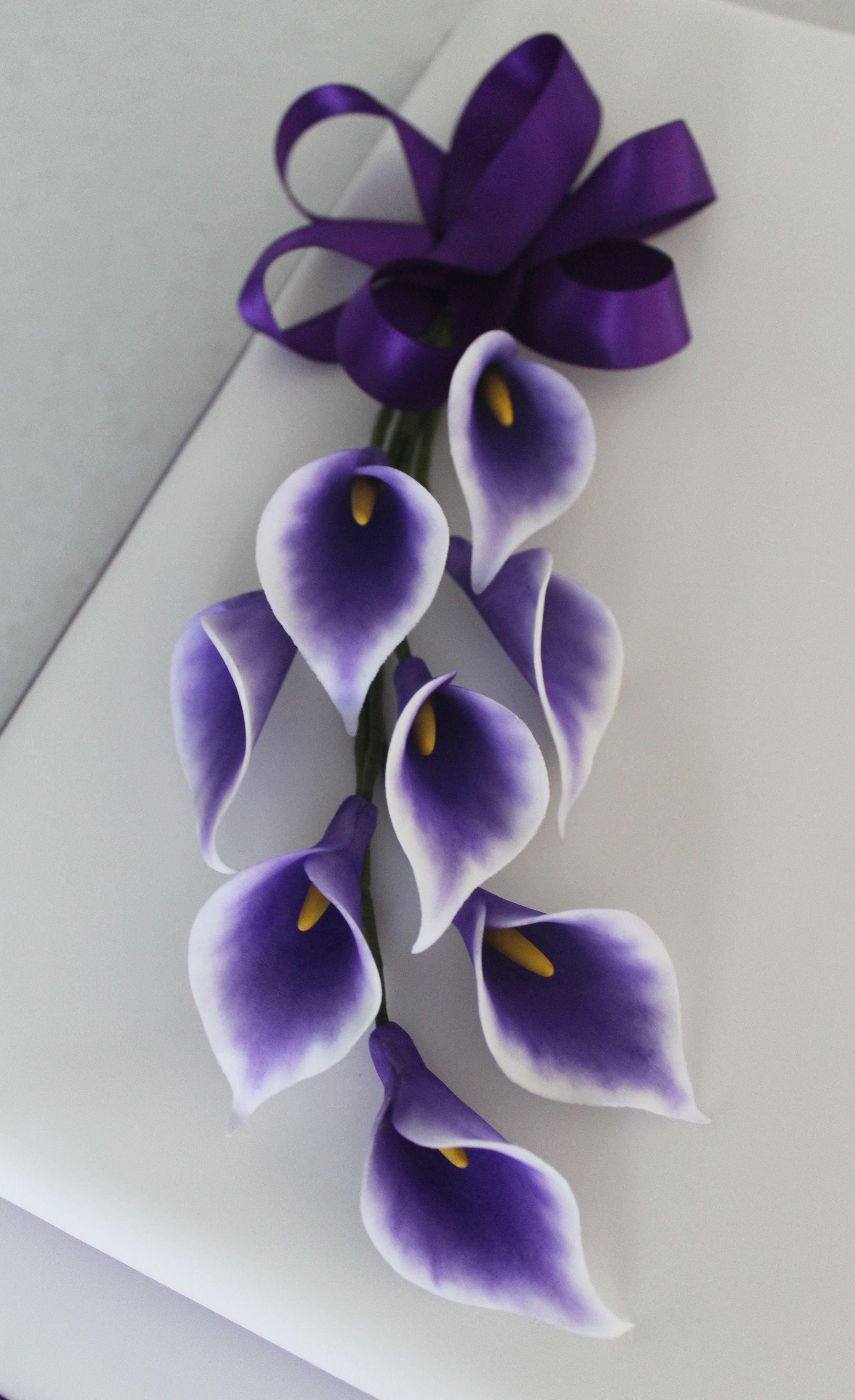 Handmade Flower Spray Purple Calla Lilies Paper Flowers Paper Flowers Diy Handmade Flowers