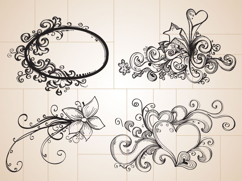 Doodle drawings these cool hand drawn decorative for Drawing decoration ideas